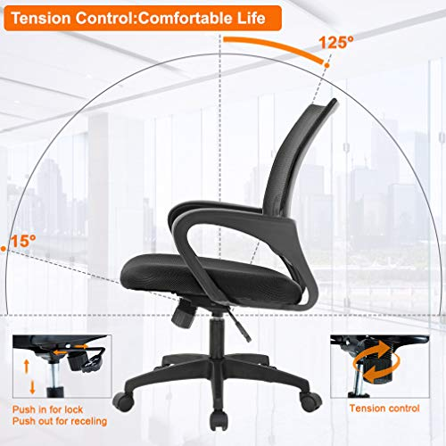Home Office Chair Ergonomic Desk Chair Mesh Computer Chair With Lumbar Support Armrest Executive Rolling Swivel Adjustable Mid Back Task Chair For Women Adults Black 0 1