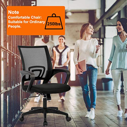 Home Office Chair Ergonomic Desk Chair Mesh Computer Chair With Lumbar Support Armrest Executive Rolling Swivel Adjustable Mid Back Task Chair For Women Adults Black 0 2