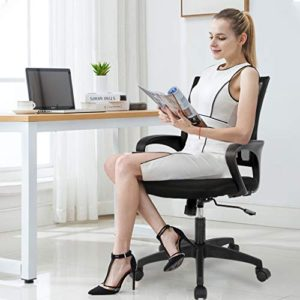 Home Office Chair Ergonomic Desk Chair Mesh Computer Chair With Lumbar Support Armrest Executive Rolling Swivel Adjustable Mid Back Task Chair For Women Adults Black 0 3