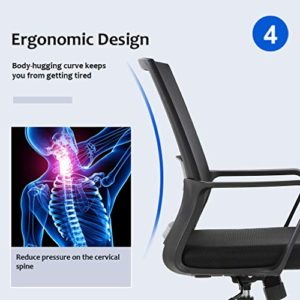 Home Office Chair Ergonomic Desk Chair Mid Back Mesh Computer Chair Lumbar Support Comfortable Executive Adjustable Rolling Swivel Task Chair With Armrestsblack 0 3