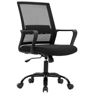 Home Office Chair Ergonomic Desk Chair Mid Back Mesh Computer Chair Lumbar Support Comfortable Executive Adjustable Rolling Swivel Task Chair With Armrestsblack 0