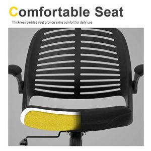 Home Office Chair Executive Rolling Swivel Ergonomic Chair Computer Chair With Flip Up Arms Lumbar Support Task Mesh Chair Heavy Duty Metal Base Desk Chairsblack 0 2