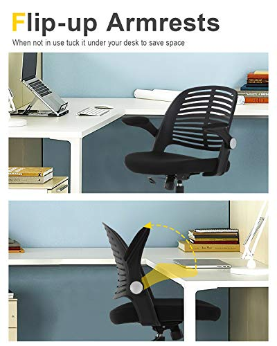 Home Office Chair Executive Rolling Swivel Ergonomic Chair Computer Chair With Flip Up Arms Lumbar Support Task Mesh Chair Heavy Duty Metal Base Desk Chairsblack 0 3