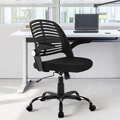 Home Office Chair Executive Rolling Swivel Ergonomic Chair Computer Chair With Flip Up Arms Lumbar Support Task Mesh Chair Heavy Duty Metal Base Desk Chairsblack 0 4