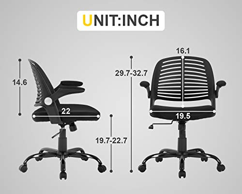 Home Office Chair Executive Rolling Swivel Ergonomic Chair Computer Chair With Flip Up Arms Lumbar Support Task Mesh Chair Heavy Duty Metal Base Desk Chairsblack 0 5
