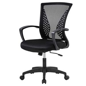Home Office Chair Mid Back Pc Swivel Lumbar Support Adjustable Desk Task Computer Ergonomic Comfortable Mesh Chair With Armrest Black 0