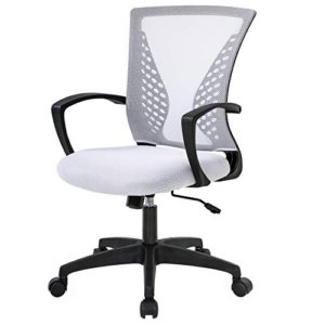 Home Office Chair Mid Back Pc Swivel Lumbar Support Adjustable Desk Task Computer Ergonomic Comfortable Mesh Chair With Armrest White 0