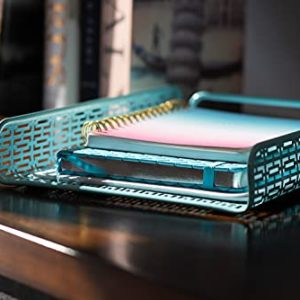 Hudstill Desk Organizer Set Home Office Supplies Accessories Decor With Paper Tray Mail Organizer Pen And Pencil Cup Sticky Notes Holder And Business Card Holder Or Cellphone Stand Aqua Teal 0 2