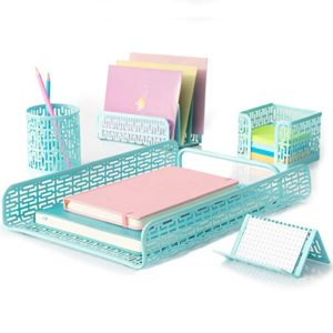 Hudstill Desk Organizer Set Home Office Supplies Accessories Decor With Paper Tray Mail Organizer Pen And Pencil Cup Sticky Notes Holder And Business Card Holder Or Cellphone Stand Aqua Teal 0