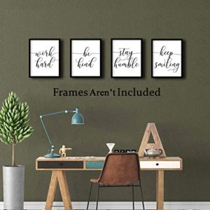 Inspirational Quotesaying Art Paintingwork Hardbe Kindstay Humblekeep Smiling Art Print Set Of 4 8X10 Canvas Picturemotivational Phrases Wall Art For Office Or Living Room Home Decorno Frame 0 0