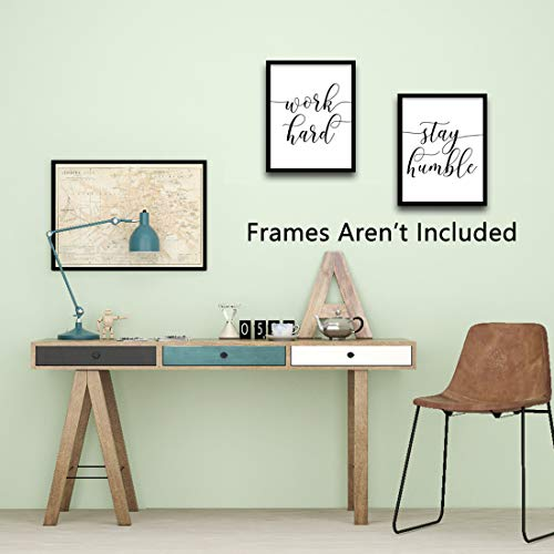 Inspirational Quotesaying Art Paintingwork Hardbe Kindstay Humblekeep Smiling Art Print Set Of 4 8X10 Canvas Picturemotivational Phrases Wall Art For Office Or Living Room Home Decorno Frame 0 1