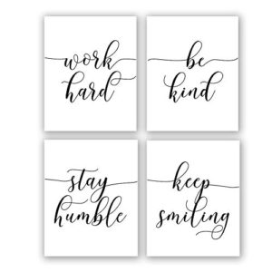 Inspirational Quotesaying Art Paintingwork Hardbe Kindstay Humblekeep Smiling Art Print Set Of 4 8X10 Canvas Picturemotivational Phrases Wall Art For Office Or Living Room Home Decorno Frame 0