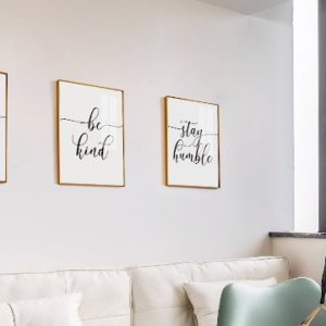 Inspirational Quotesaying Art Paintingwork Hardbe Kindstay Humblekeep Smiling Art Print Set Of 4 8X10 Canvas Picturemotivational Phrases Wall Art For Office Or Living Room Home Decorno Frame 0 4