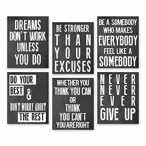 Inspirational Wall Art Poster Prints Quote Positive Affirmation Motivational Wall Art Quotes Pictures Fun Office Wall Decor Artwork Art For Living Room Bedroom Walls Office Art Black 68X10 0