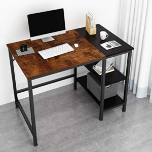 Joiscope Home Office Computer Desksmall Study Writing Desk With Wooden Storage Shelf2 Tier Industrial Morden Laptop Table With Splice Board40 Inchesvintage Oak Finish 0