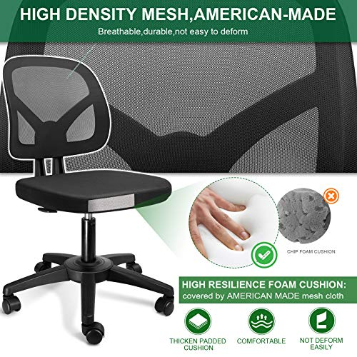 Kolliee Armless Office Chair Mesh Ergonomic Small Desk Chair Armless Adjustable Swivel Black Computer Task Chair No Armrest Mid Back Home Office Chair For Small Spaces 0 1