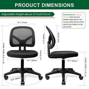 Kolliee Armless Office Chair Mesh Ergonomic Small Desk Chair Armless Adjustable Swivel Black Computer Task Chair No Armrest Mid Back Home Office Chair For Small Spaces 0 2