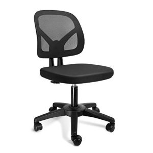 Kolliee Armless Office Chair Mesh Ergonomic Small Desk Chair Armless Adjustable Swivel Black Computer Task Chair No Armrest Mid Back Home Office Chair For Small Spaces 0