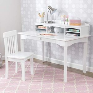 Kidkraft Avalon Wooden Childrens Desk With Hutch Chair And Storage White Gift For Ages 5 10 0 1