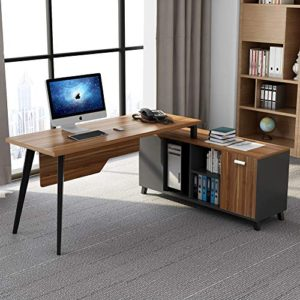L Shaped Desk Tribesigns Large Executive Office Desk Computer Table Workstation With Storage Shelves Business Furniture With File Cabinet Combodark Walnut Stainless Steel Legs 0 0