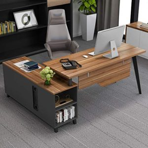 L Shaped Desk Tribesigns Large Executive Office Desk Computer Table Workstation With Storage Shelves Business Furniture With File Cabinet Combodark Walnut Stainless Steel Legs 0 1