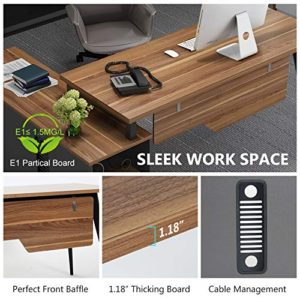 L Shaped Desk Tribesigns Large Executive Office Desk Computer Table Workstation With Storage Shelves Business Furniture With File Cabinet Combodark Walnut Stainless Steel Legs 0 3