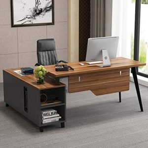L Shaped Desk Tribesigns Large Executive Office Desk Computer Table Workstation With Storage Shelves Business Furniture With File Cabinet Combodark Walnut Stainless Steel Legs 0