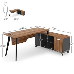 L Shaped Desk Tribesigns Large Executive Office Desk Computer Table Workstation With Storage Shelves Business Furniture With File Cabinet Combodark Walnut Stainless Steel Legs 0 5