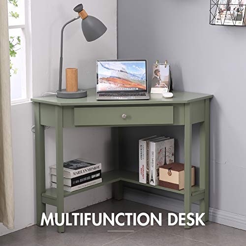 Lipo Corner Desk 297 297 Home Office Computer Table Space Saving Laptop Pc Table Writing Study Table With Drawers And Storage Shelfgreen 0 0