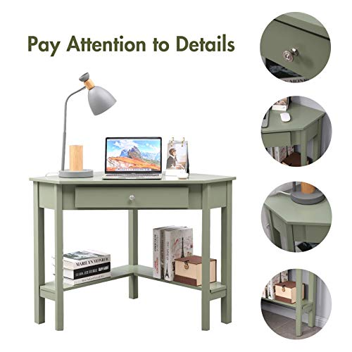Lipo Corner Desk 297 297 Home Office Computer Table Space Saving Laptop Pc Table Writing Study Table With Drawers And Storage Shelfgreen 0 3