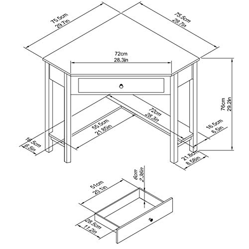 Lipo Corner Desk 297 297 Home Office Computer Table Space Saving Laptop Pc Table Writing Study Table With Drawers And Storage Shelfgreen 0 4