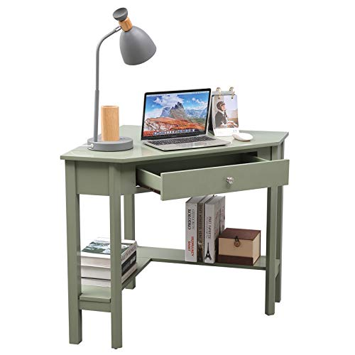 Lipo Corner Desk 297 297 Home Office Computer Table Space Saving Laptop Pc Table Writing Study Table With Drawers And Storage Shelfgreen 0