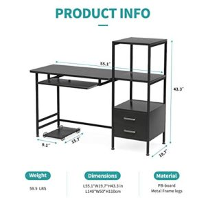 Mecor Study Writing Computer Desk 55 With Drawerskeyboard Traystorage Shelves Modern Simple Style Pc Desk Laptop Study Table Workstation For Home Office Black 0 4