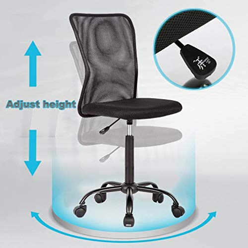 Mesh Office Chair Armless Task Chair Mid Back Ergonomic Computer Desk Chair With Lumbar Support Height Adjustable No Armrest Home Office Chair Swivel Rolling Chair For Adult Black 0 3