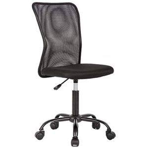 Mesh Office Chair Armless Task Chair Mid Back Ergonomic Computer Desk Chair With Lumbar Support Height Adjustable No Armrest Home Office Chair Swivel Rolling Chair For Adult Black 0 4