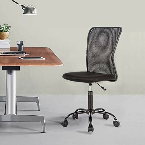 Mesh Office Chair Armless Task Chair Mid Back Ergonomic Computer Desk Chair With Lumbar Support Height Adjustable No Armrest Home Office Chair Swivel Rolling Chair For Adult Black 0