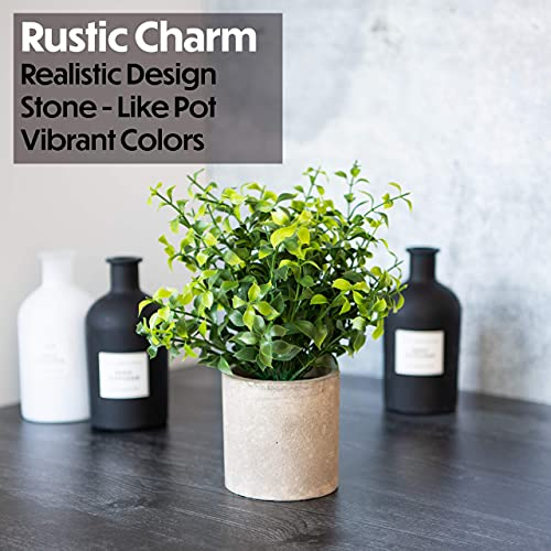 Modern Farmhouse Bathroom Decor Small Plants Decor Table Centerpieces Decorations For Dining Room Office Desk Kitchen Living Room Shelf Fake Plant Artificial Plant Flowers Faux House Indoor 2 Pack 0 2