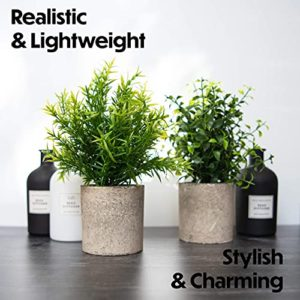 Modern Farmhouse Bathroom Decor Small Plants Decor Table Centerpieces Decorations For Dining Room Office Desk Kitchen Living Room Shelf Fake Plant Artificial Plant Flowers Faux House Indoor 2 Pack 0 4