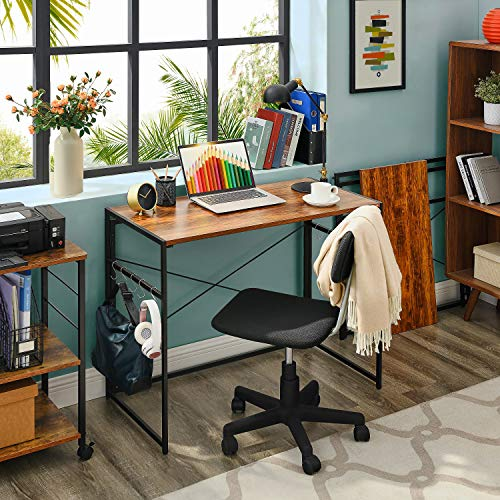 Mr Ironstone 39 Folding Computer Desk Writing Desk Easy Assembly With 10 Hooks Foldable Metal Frame Writing Workstation Laptop Table For Home Office Vintage 0 1
