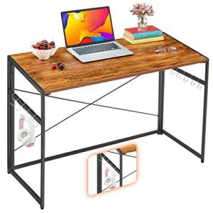 Mr Ironstone 39 Folding Computer Desk Writing Desk Easy Assembly With 10 Hooks Foldable Metal Frame Writing Workstation Laptop Table For Home Office Vintage 0