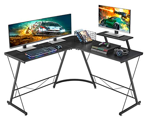 Mr Ironstone L Shaped Desk 508 Computer Corner Desk Home Gaming Desk Office Writing Workstation With Large Monitor Stand Space Saving Easy To Assemble Black 0