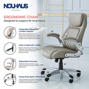 Nouhaus Posture Ergonomic Pu Leather Office Chair Click5 Lumbar Support With Flipadjust Armrests Modern Executive Chair And Computer Desk Chair Taupe 0 0