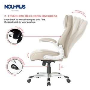 Nouhaus Posture Ergonomic Pu Leather Office Chair Click5 Lumbar Support With Flipadjust Armrests Modern Executive Chair And Computer Desk Chair Taupe 0 1