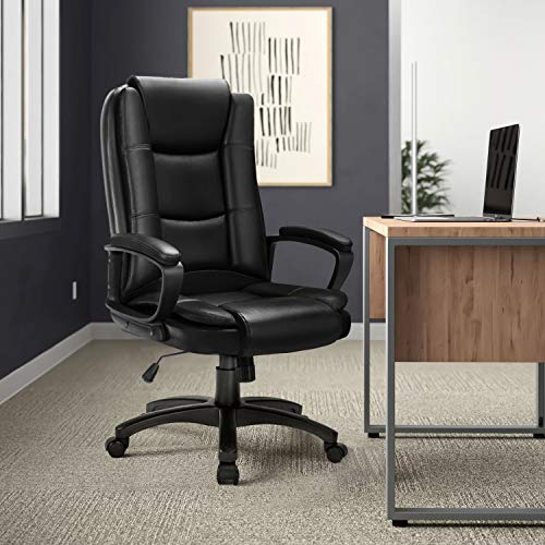 Ofika Home Office Chair Ergonomic Desk Chair Adjustable Task Chair For Lumbar Back Support Computer Chair With Rolling Swivel And Armrest Modern Executive High Back Leather Chairs Black 0 0