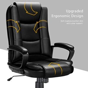 Ofika Home Office Chair Ergonomic Desk Chair Adjustable Task Chair For Lumbar Back Support Computer Chair With Rolling Swivel And Armrest Modern Executive High Back Leather Chairs Black 0 2