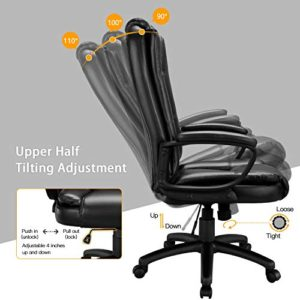 Ofika Home Office Chair Ergonomic Desk Chair Adjustable Task Chair For Lumbar Back Support Computer Chair With Rolling Swivel And Armrest Modern Executive High Back Leather Chairs Black 0 3