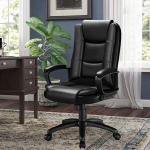 Ofika Home Office Chair Ergonomic Desk Chair Adjustable Task Chair For Lumbar Back Support Computer Chair With Rolling Swivel And Armrest Modern Executive High Back Leather Chairs Black 0 4