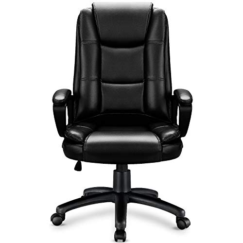 Ofika Home Office Chair Ergonomic Desk Chair Adjustable Task Chair For Lumbar Back Support Computer Chair With Rolling Swivel And Armrest Modern Executive High Back Leather Chairs Black 0