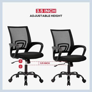 Office Chair Ergonomic Cheap Desk Chair Mesh Computer Chair Lumbar Support Modern Executive Adjustable Stool Rolling Swivel Chair For Back Pain Black 0 1
