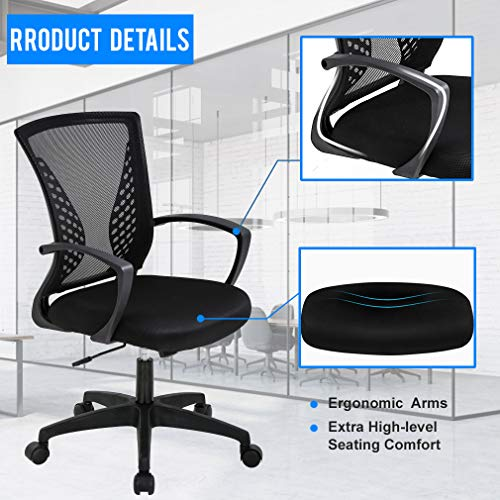 Office Chair Ergonomic Desk Chair Mesh Computer Chair With Lumbar Support Armrest Mid Back Rolling Swivel Adjustable Task Chair For Women Adults Black 0 2